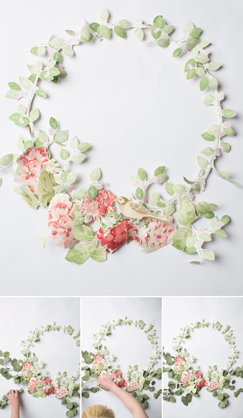 Make a spring wreath from floral wallpaper from Laura Ashley