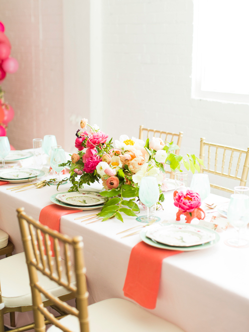 Flamingo Pop. A bridal collaboration with BHLDN and The House That Lars Built. Florals by Ashley Beyer. Table linens and chairs from Scene Makers. Photo by Jessica Peterson. Photo by Jessica Peterson.