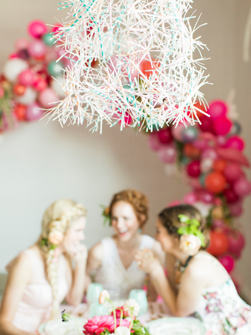 Flamingo Pop. A bridal collaboration with BHLDN and The House That Lars Built. Chandelier made from paper straws. Straws from BHDLN. Photo by Jessica Peterson.