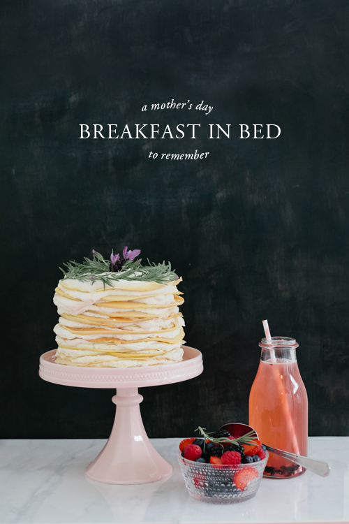 Breakfast in bed idea for Mother's Day with lavender honey crepe cake