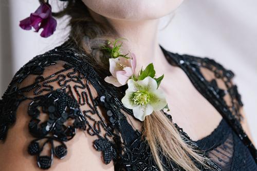 fresh flowers in hair