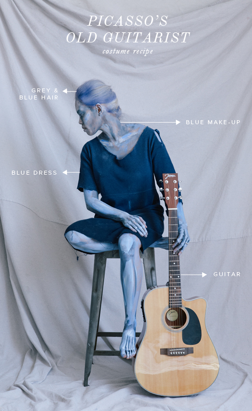 Picasso's Old Guitarist Halloween costume recipe with make-up tutorial