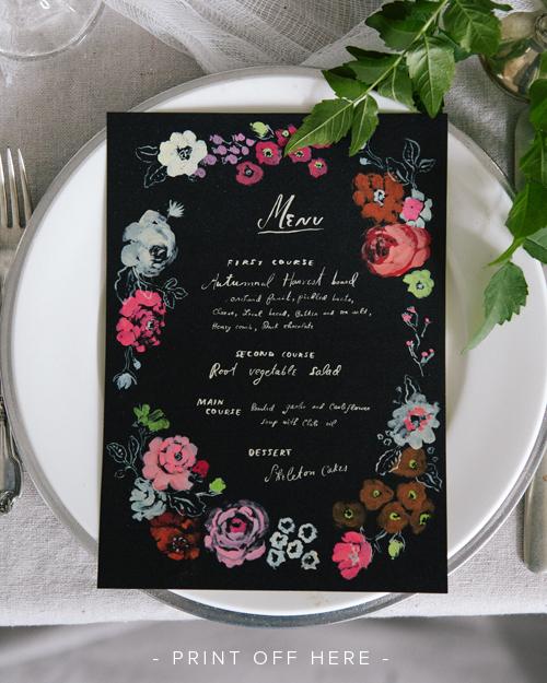 Black and floral printable halloween menu