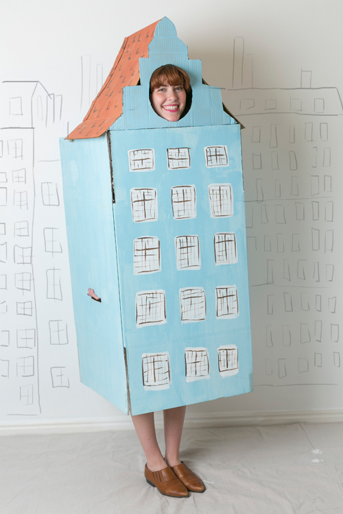 Row house Halloween costume made from a cardboard box