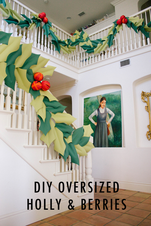 Oversized holly and berry garland tutorial