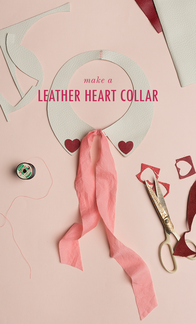 Leather heart Peter Pan collar for Valentine's Day