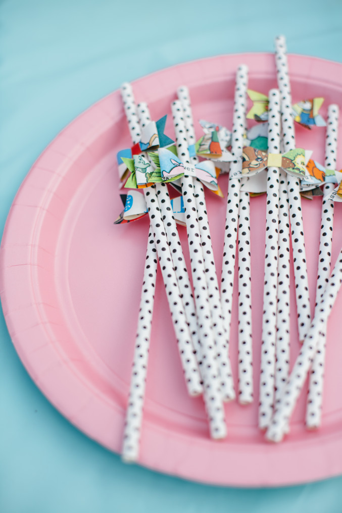 Book page bow tie straws