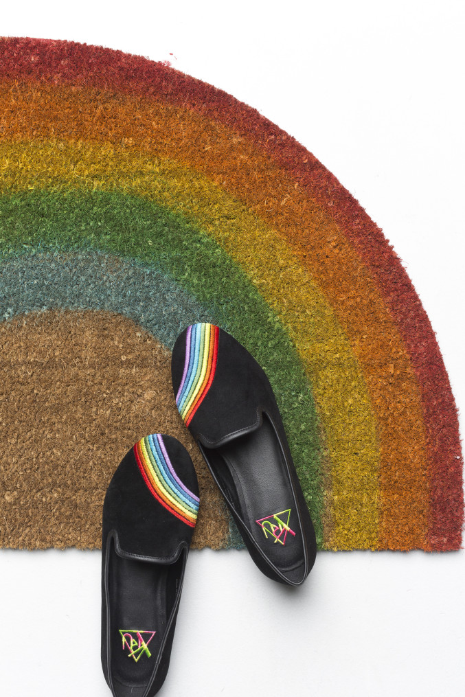 DIY rainbow welcome mat