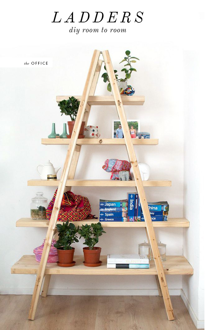 DIY LADDER SHELVING UNIT