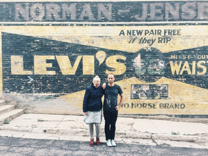 old Levi's ad in Eureka, Utah, an abandoned mining town