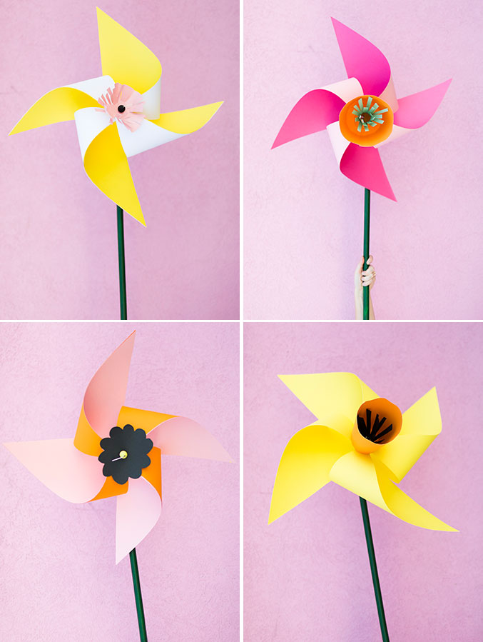 Giant flower pinwheels for kids
