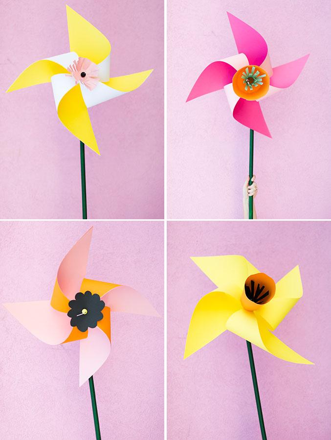 Giant flower pinwheels for kids