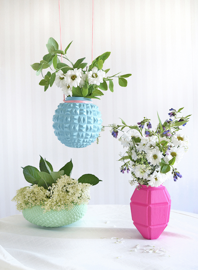 painted lamp vases
