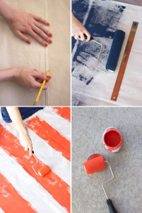 Step by step photo instructions of how to make an american flag picnic blanket.