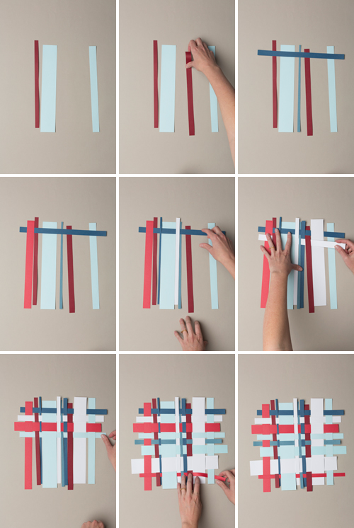 step by step photos detailing how to weave 4th of July paper placemats