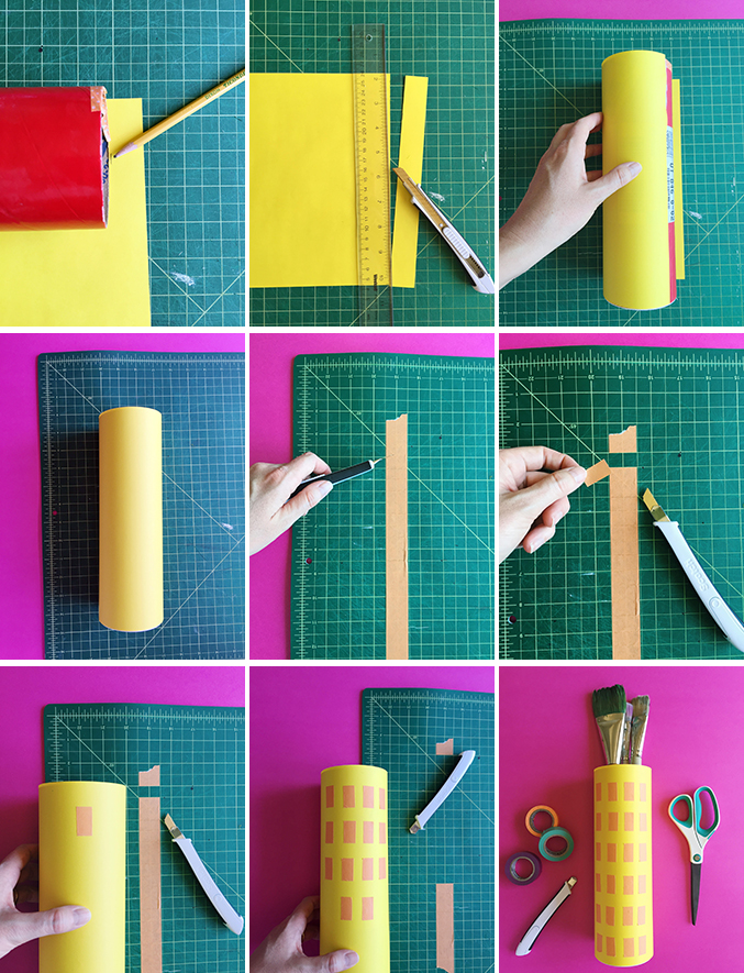 Make an office organizer from recycled canisters and Scotch tape