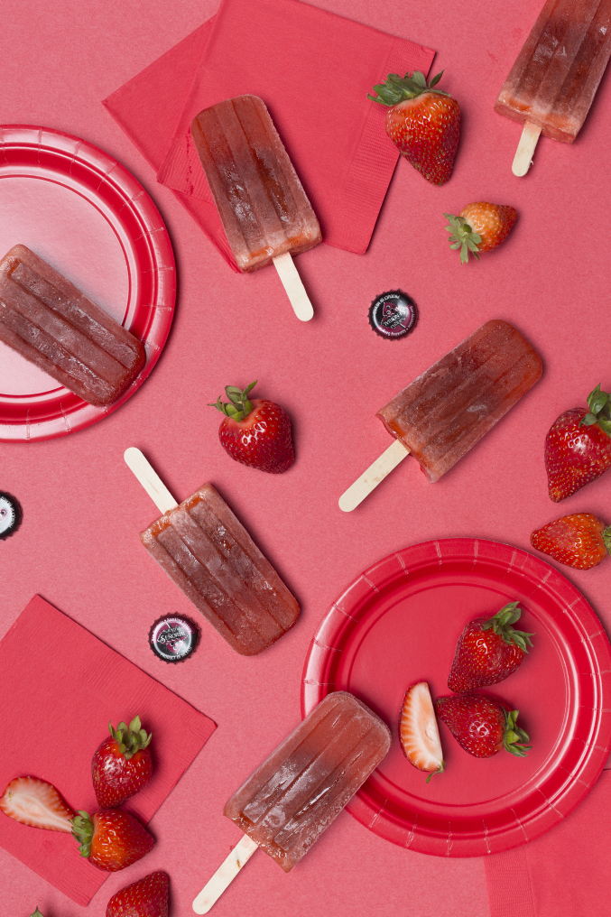Strawberry sangria popsicles