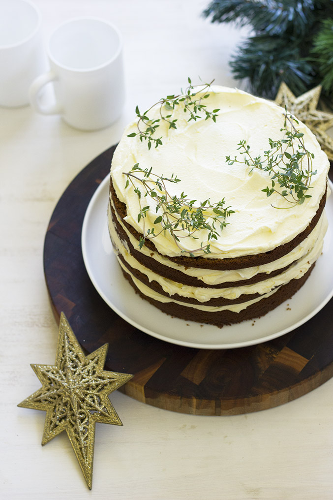 Gingerbread layer cake with lemon butter cream