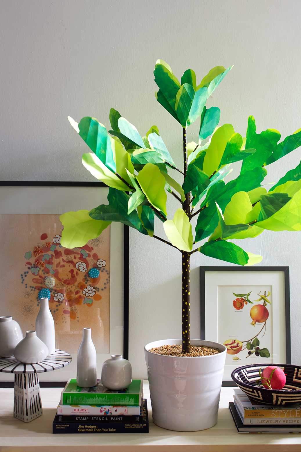 DIY paper fiddle leaf fig tree