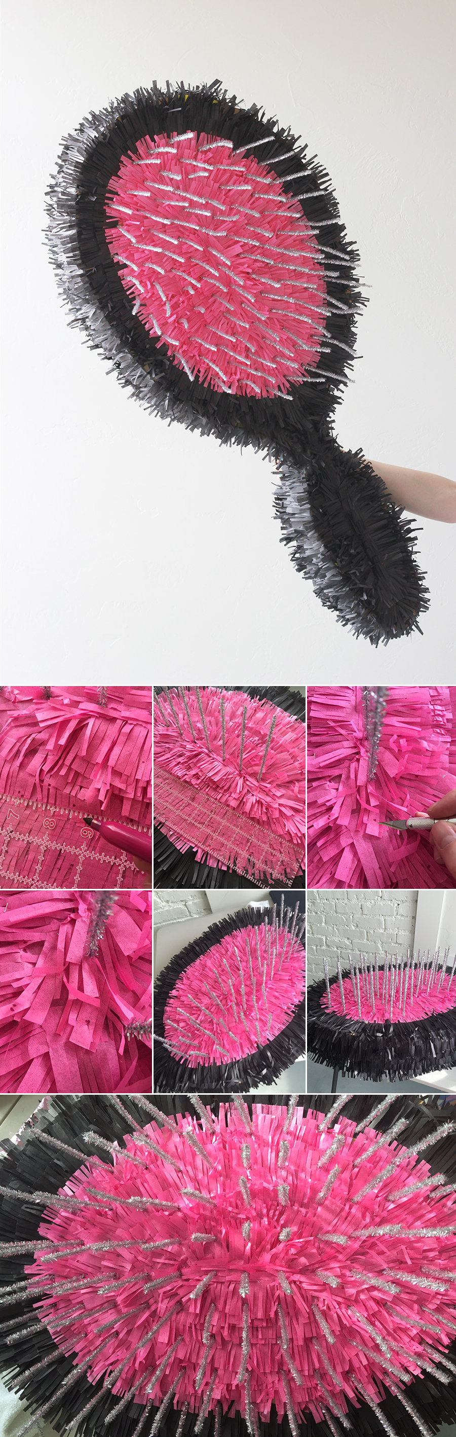 hair brush pinata instructions