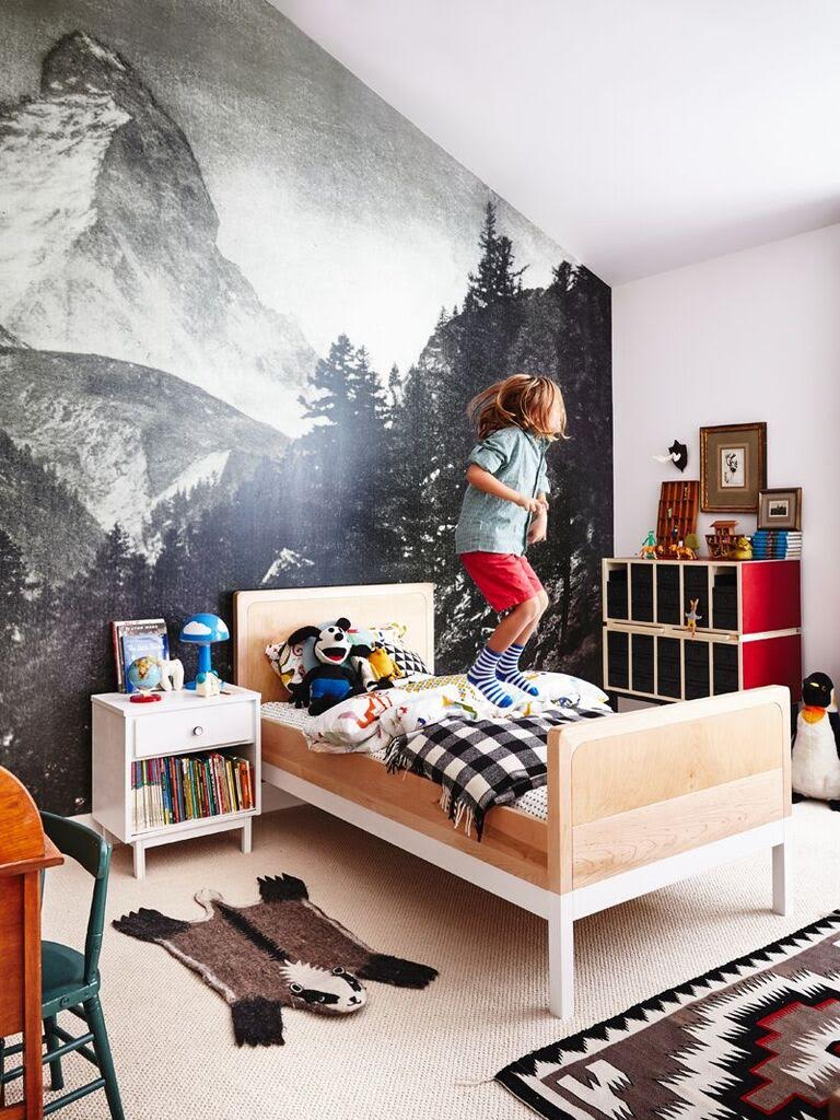 matterhorn wallpaper kids bedroom boy jumping