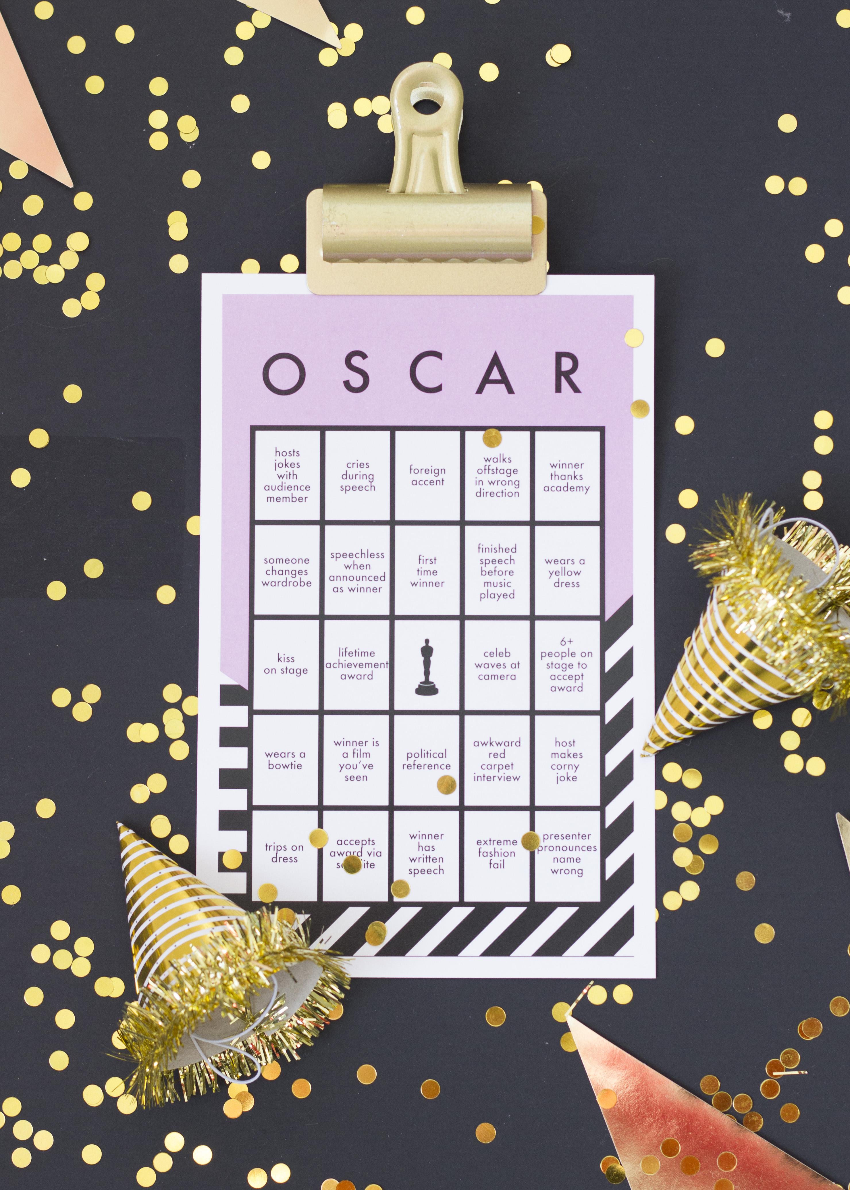 Free printable Oscar bingo card