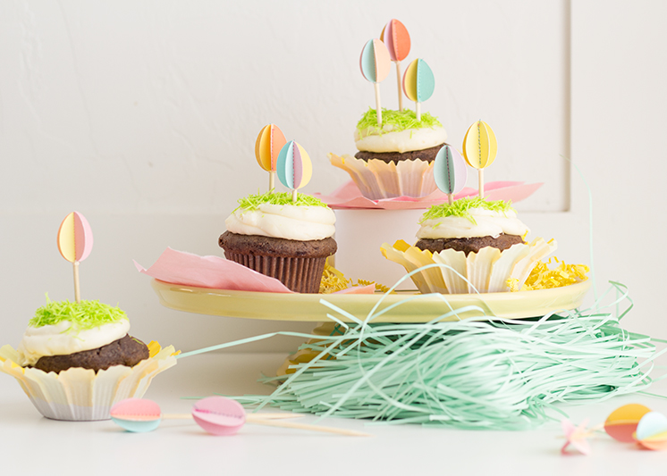 3D Easter egg cupcake toppers