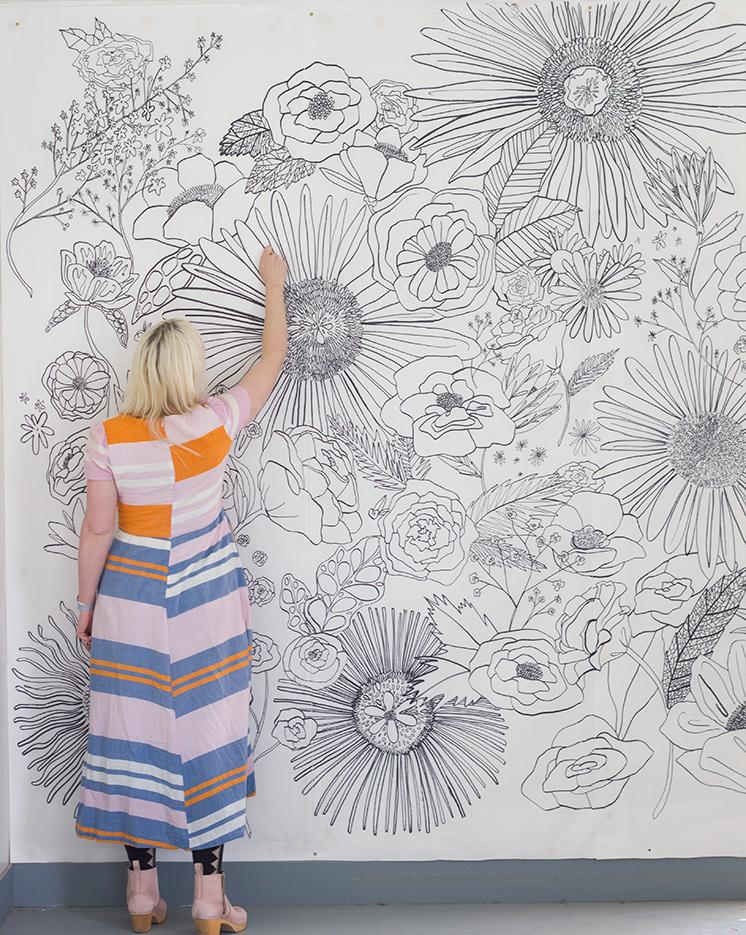 floral-coloring-mural