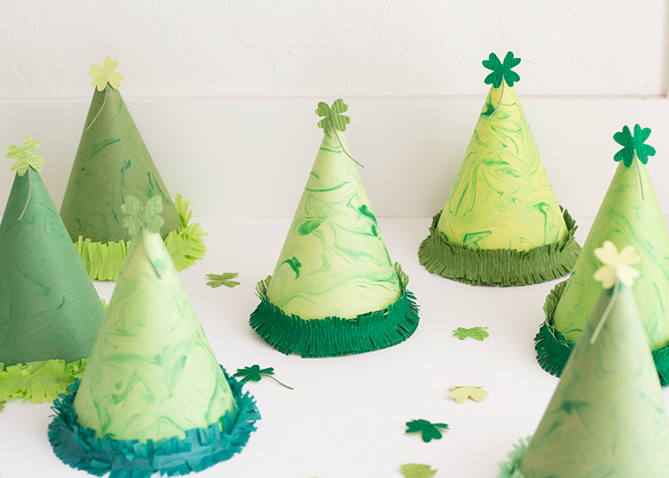 DIY St. Patrick's Day marbled shamrock party hats