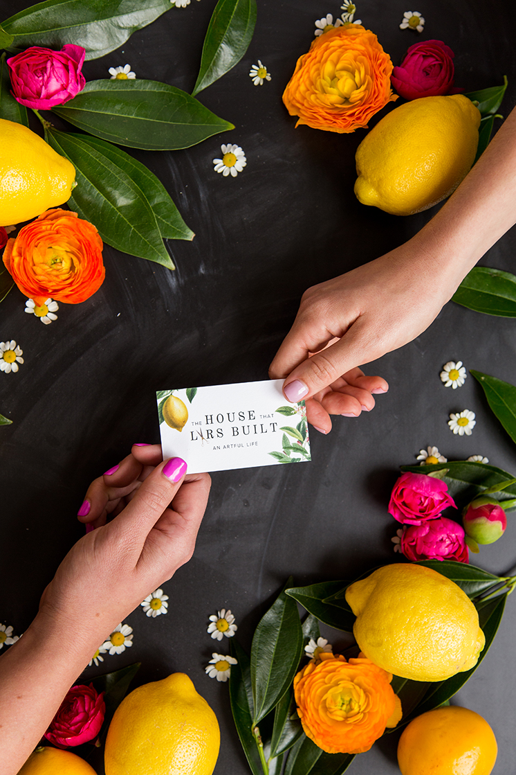 lars business card with lemons and blooms