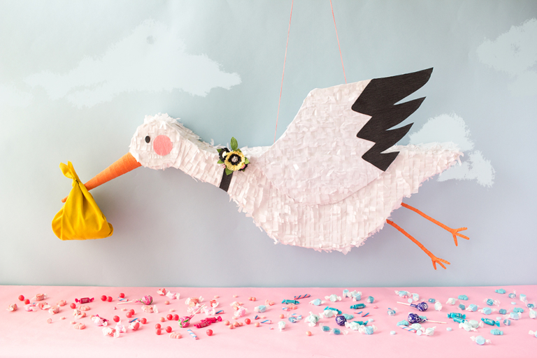 Gender reveal stork pinata