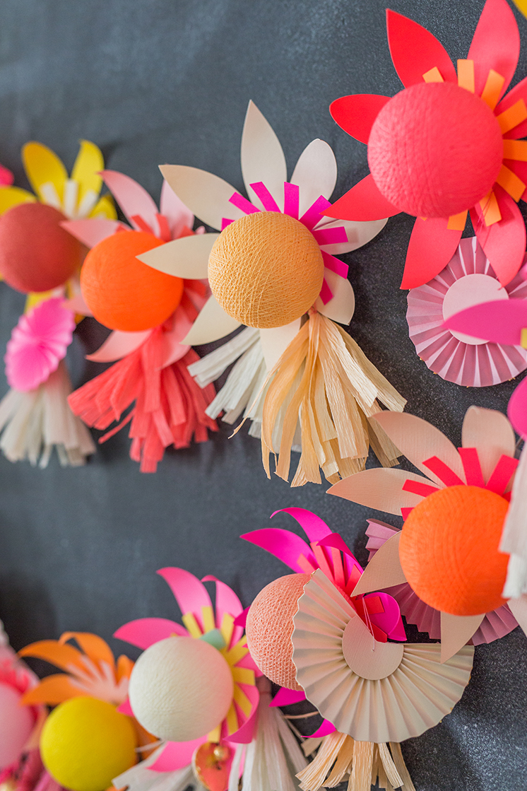 DIY paper flower lights using Bright Lab on The House That Lars Built