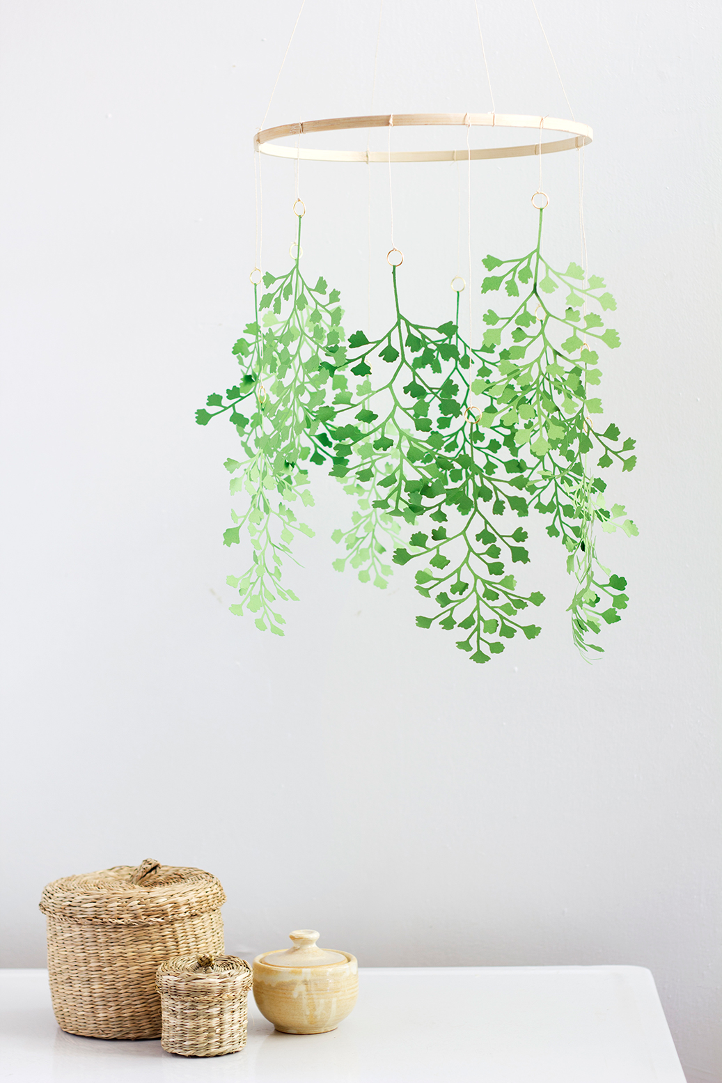 DIY paper maidenhair fern mobile