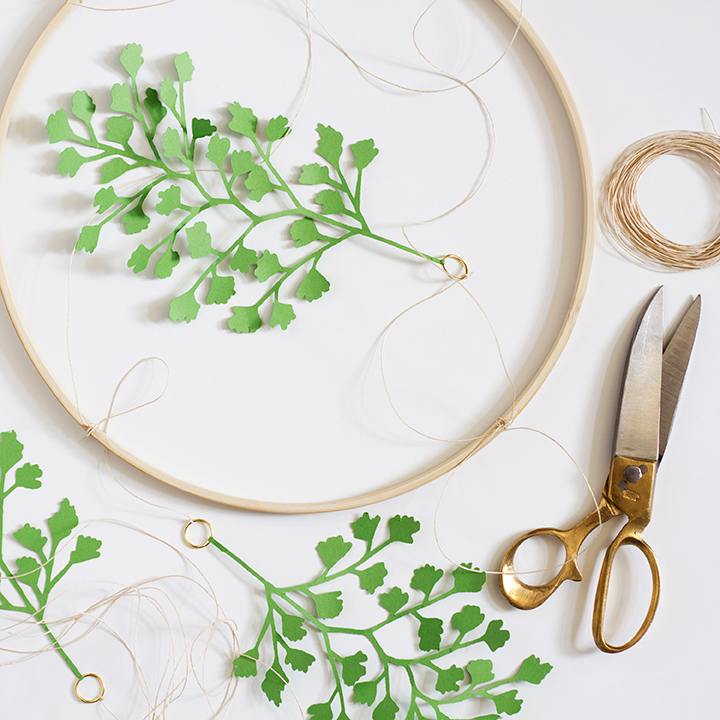 DIY paper maidenhair fern mobile