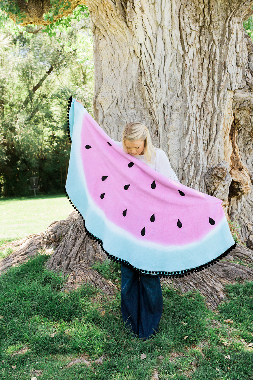 DIY dyed watermelon blanket for National Picnic Month from The House that Lars Built