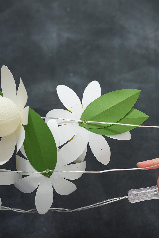 DIY paper daisy string lights