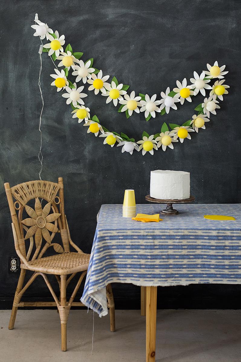 DIY paper daisy string light tutorial