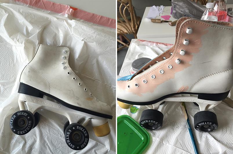 Paint roller skates