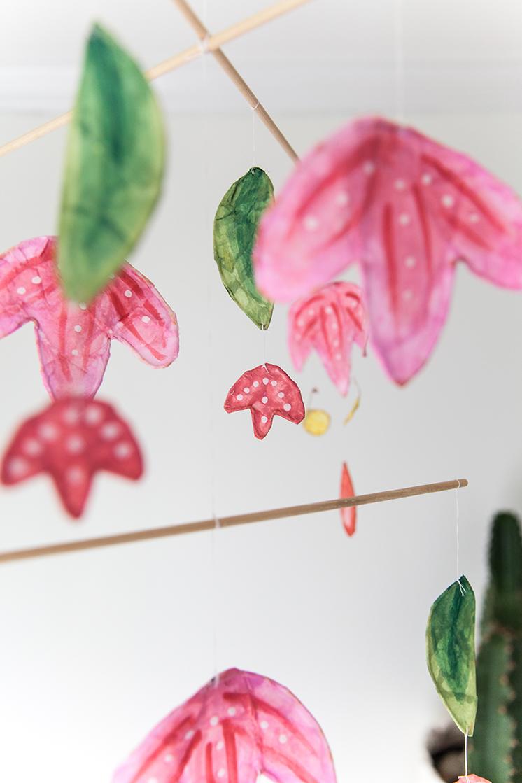 Scandinavian Paper mache flower mobile
