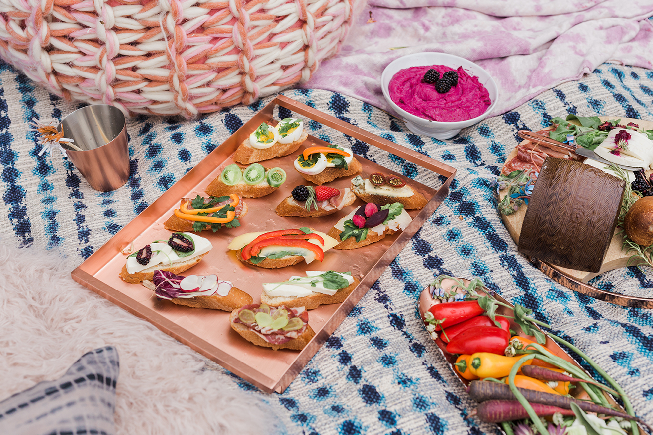 open faced sandwiches on Crate and Barrel copper tray