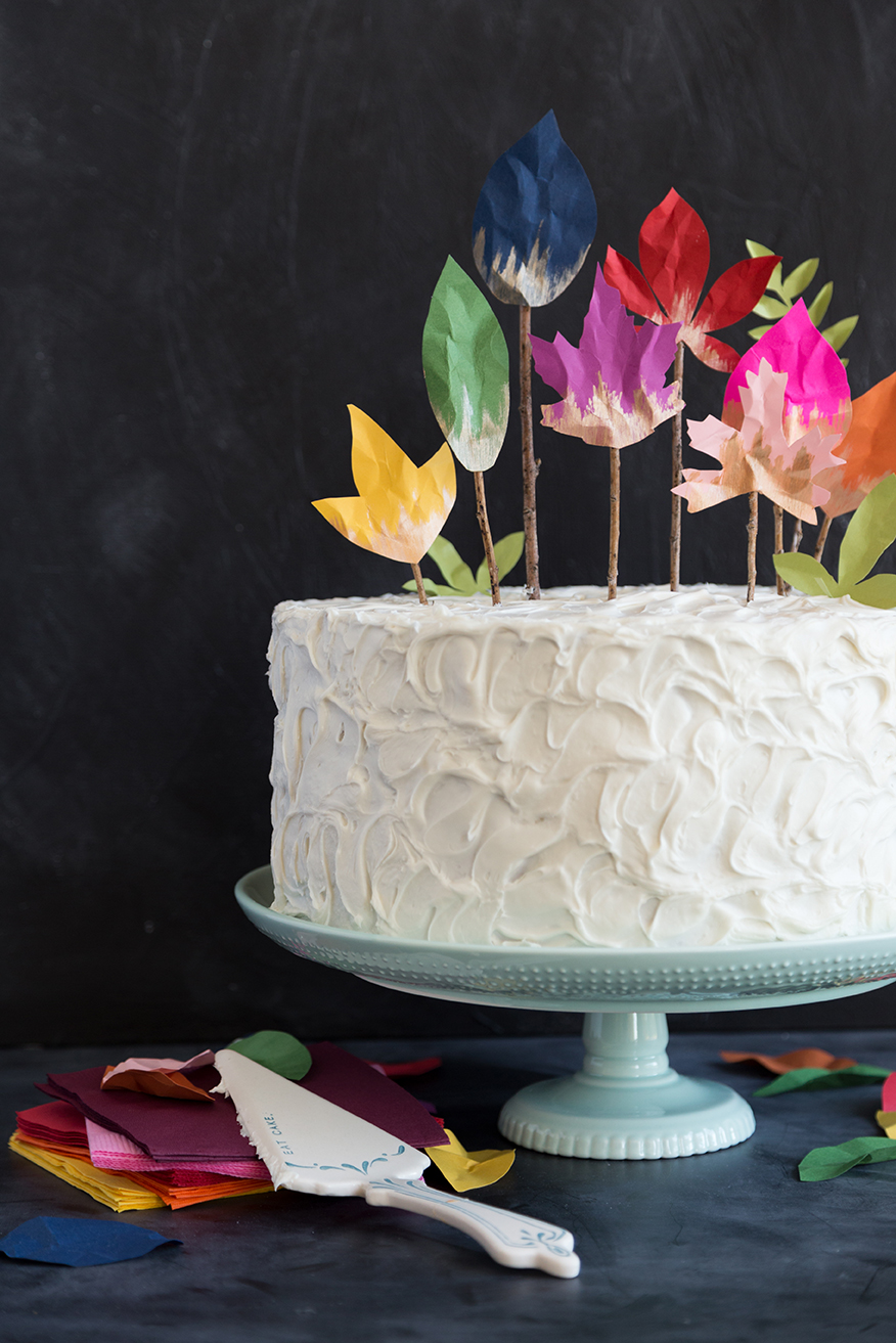 diy fall leaf cake topper
