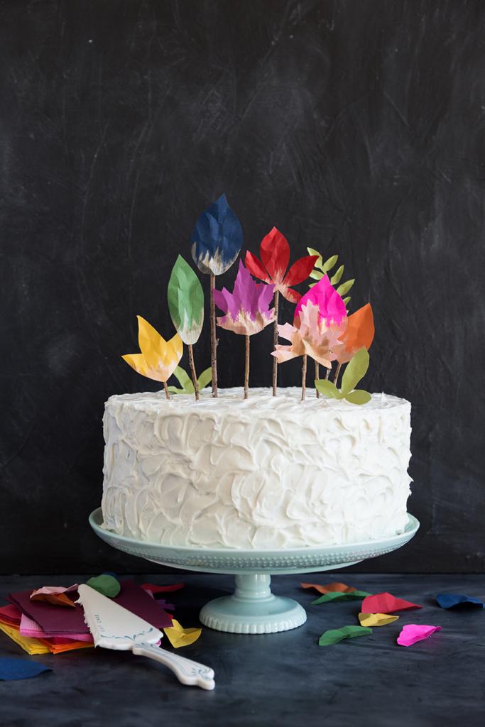 DIY fall leaf cake topper