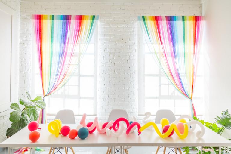 DIY Rainbow Streamer Curtains