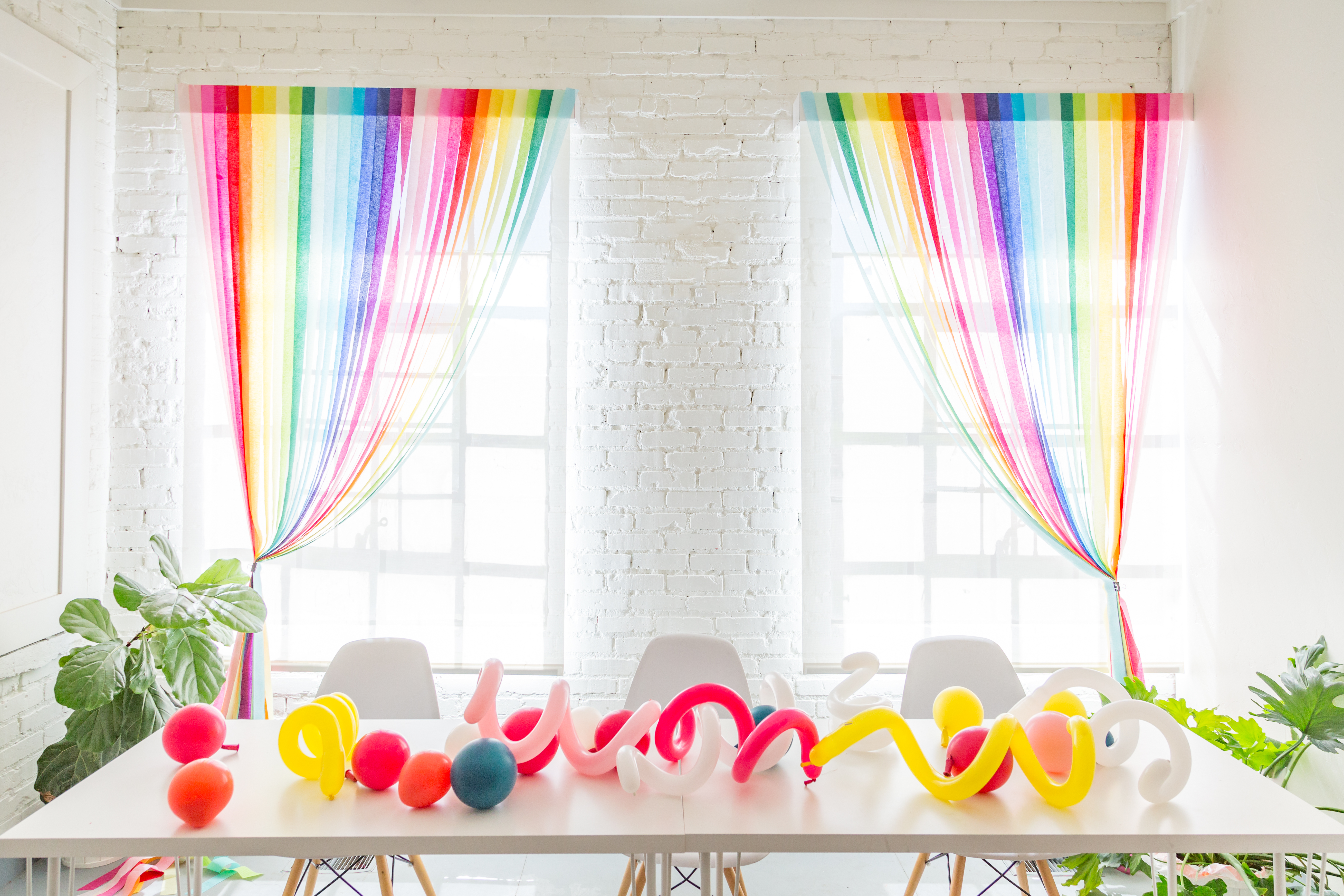 Rainbow Streamer Curtains