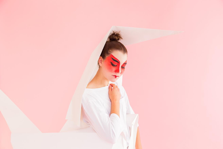 DIY origami paper crane costume