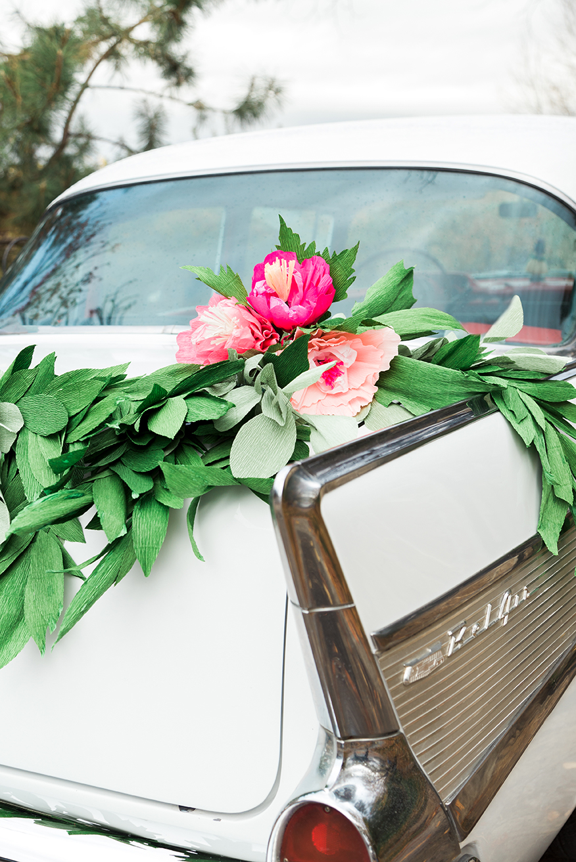 paper garland for wedding car