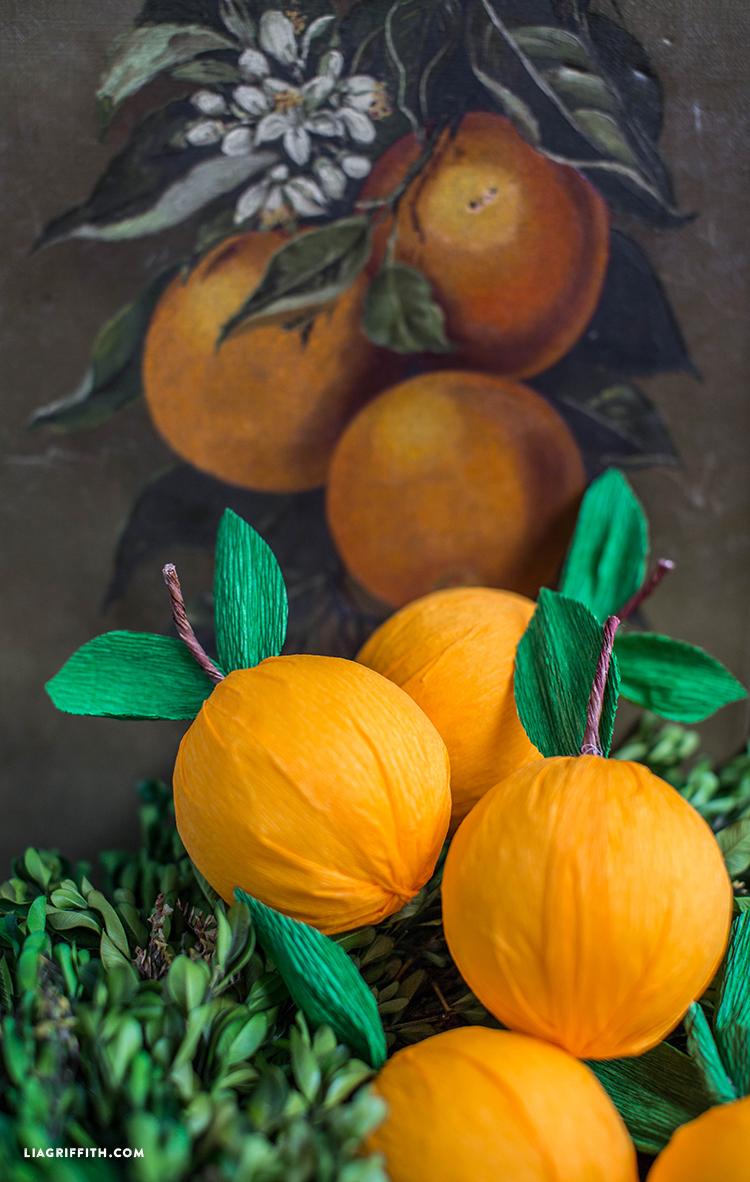 DIY crepe paper clementine