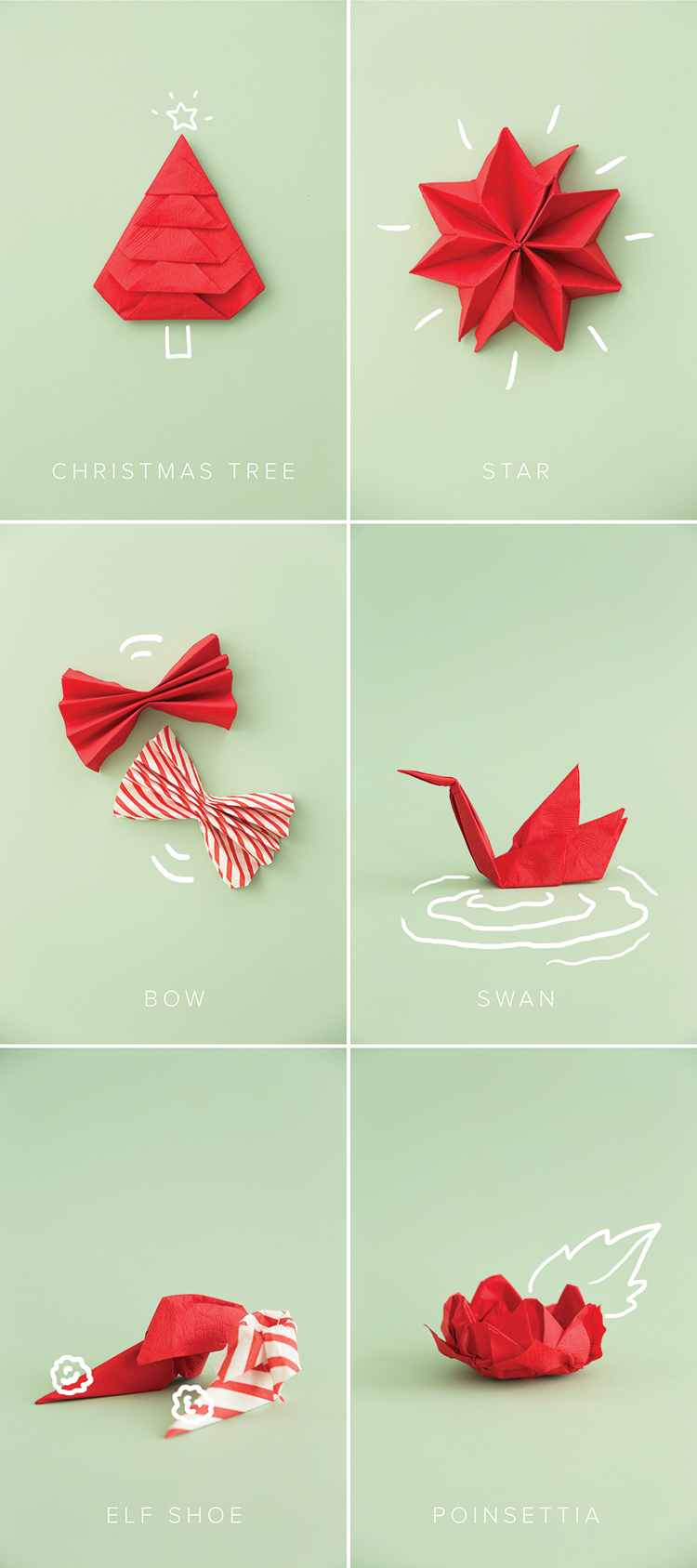 Guide to Christmas napkin folding