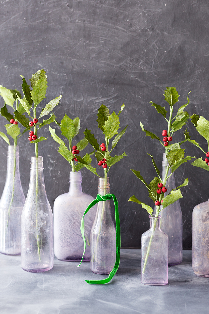 DIY Paper Holly boughs