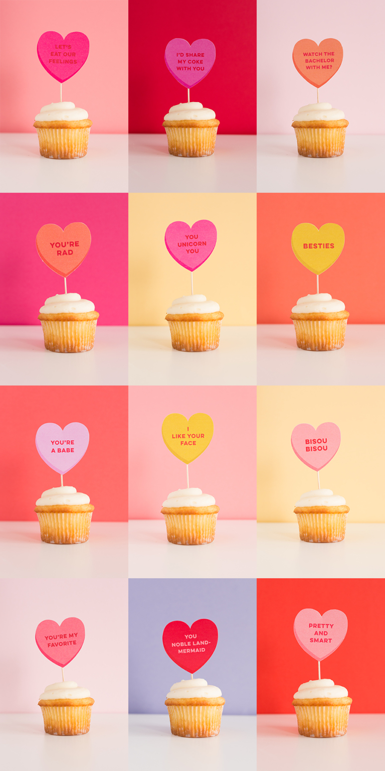 Conversation Heart Cupcake Toppers